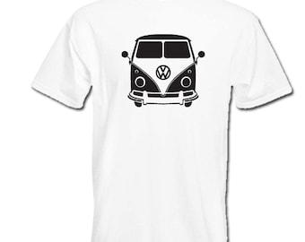 VW T1 split screen British Volkswagen CAMPER van retro t-shirt mens womens boys girls birthday gift