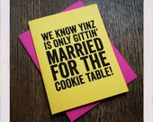 Pittsburgh Yinzer Wedding Engagement Cookie Table Card