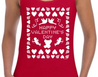Ugly Valentine's Day Sweater Junior's Tank Top T-Shirt 64200L - WHS-310T