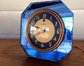 Vintage Art Deco Warren Telechron Electric Mantle Desk  Clock Blue Mirror Octagonal Face
