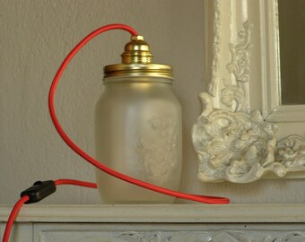 Table lamp Mason Jar lighting, frosted glass Jars