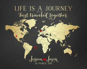 Travel Map, Wedding Gift, Destination, Gold World Map, Custom Art Print Personalized Gifts, Long Distance Relationships, Honeymoon | WF54