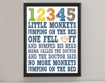 Instant Digital Download - No More Monkeys Jumping On The Bed - Navy Blue, Orange, Green, Brown, Yellow