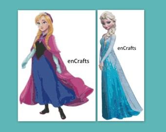 Frozen Elsa And Anna Cross Stitch Patterns