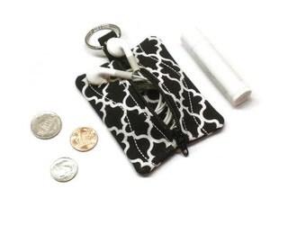 Black Quatrefoil coin purse, change bag, small zippered pouch, earbuds holder case, pouch key chain, 10 gift idea, lip balm holder
