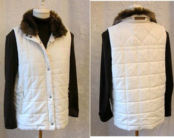 90s Ralph Lauren Cream Quilted Vest - Brown Faux Fur Collar - Ivory Winter White Puffy Vest - Zip Pockets - Excellent Condition - Size Med