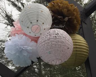 PURE GOLD - 3 Tissue Paper Pom Poms/3 Paper Lanterns // Baby Shower, Birthday, Wedding, Bridal Shower, Nursery Decor, Tea Party