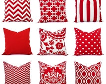 One Decorative Pillow - Red and White Pillows - Pillow Cover 20x20 Inch - 16 In Red Throw Pillow - Red Pillow - Red Chevron - Red Polka Dot