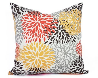 Two Orange and Brown Throw Pillow Covers - Orange Pillow Cover - Decorative Pillows - Orange Throw Pillow Cushion Cover Accent Pillow