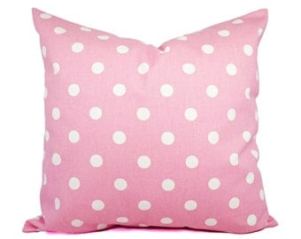 Two Pink Pillow Covers - Pale Pink and White Polka Dot Throw Pillows - Baby Pink Pillows - Pale Pink Pillows - Polka Dot Pillows