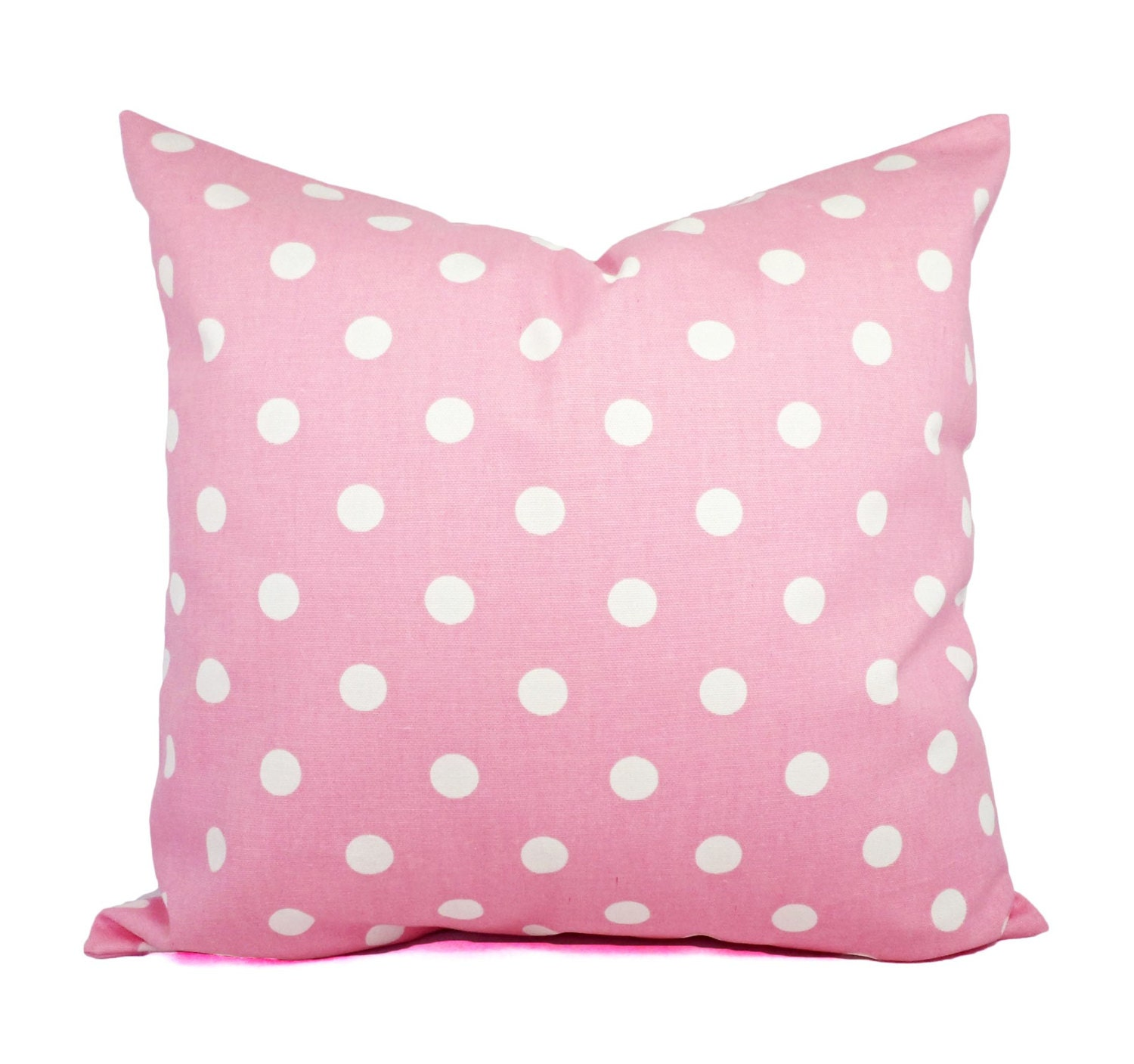 Two Pink Pillow Covers Pale Pink and White Polka Dot Throw
