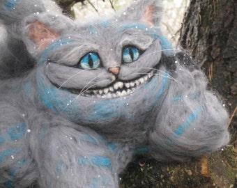 Handmade/ Needle Felted Cheshire Cat/Alice in Wonderland