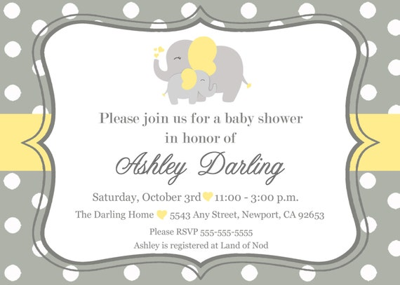 Elephant Baby Shower Invitation Jungle Invitation Elephant