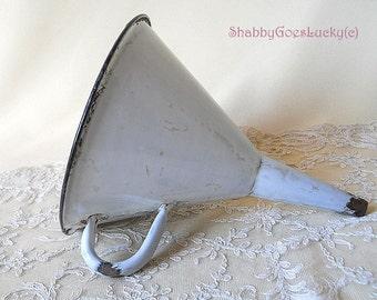 Vintage enamel funnel with handle & black rim, white shabby old enamelware, rustic vintage kitchenware