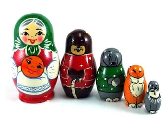 Nesting Dolls 5 pcs Russian doll Matryoshka Babushka Wooden Stacking Handmade birthday and christmas gift