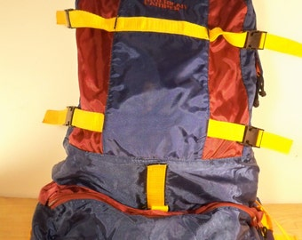 Vintage American Camper Blue Nylon Trail Camping Hiking Rucksack Day Pack Backpack