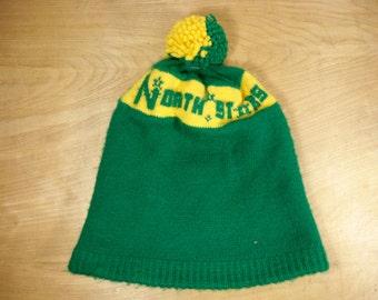 Vintage Minnesota North Stars NHL Hockey Green & Yellow Wool Stocking Winter Snow Cap Hat One Size