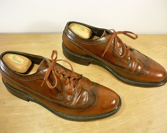 Vintage Stafford Made in USA Brown Leather Men's Work Wingtips Pimp Gangster Dress Shoes Oxford Size 11