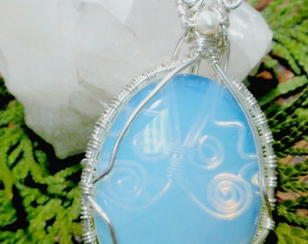 Moonstone Opalite wire wrapped pendant, silver, wire wrapped jewelry handmade