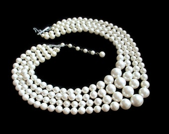 Vintage 4 Strand Graduated Hand Knotted Faux Pearl Multistrand Japan Necklace with Silvertone Findings