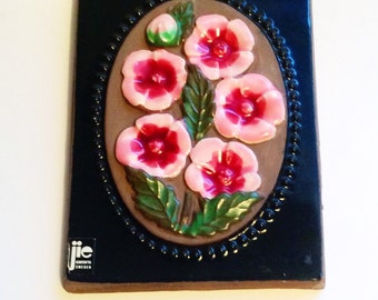 60s Swedish vintage retro ceramic plaque Jie Garntofta with a wonderful flower