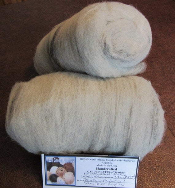 Hand Processed/Handcrafted - All Natural Lt. Silver Grey Alpaca Blended w/Black Bamboo Top/Silver Angelina Carded Batt Sparkly 2 Pack 3.7oz
