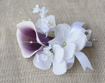 Silk Purple Heart Calla Lily and Hydrangeas Wedding Boutonniere Or Corsage  - Natural Touch Calla Wedding Boutonniere
