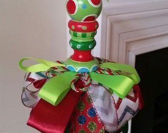 Christmas, hand painted, ribbon tassel, xmas decor, ornament, lime green, red, turquoise, holiday, gift, chevron, glitter
