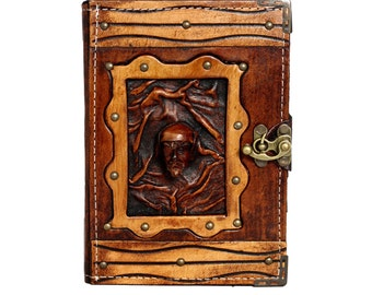 Captain Pirate On A Brown Leather Journal / Notebook / Diary / Sketchbook / Leatherbound