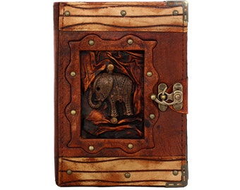 Indian Elephant Pendant On A Brown Leather Journal / Notebook / Diary / Sketchbook / Leatherbound