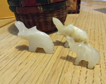 Sale--Family of Three little carved jade elephants  light green/brown