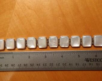 ON SALE Sterling Silver Mother of Pearl Link Bracelet