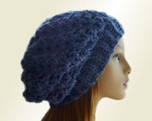Blue Slouchy Beanie Hat Chunky Denim Blue Slouchie Beany Wool Medium Blue Slouch Hat Winter Womens Hats Teen Hat Gift for Her Gift Idea