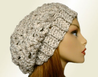 SLOUCHY Beanie Womens Slouch Hat Chunky Crochet Wheat