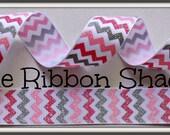 7/8 Camo Girl Pink Chevron Grosgrain Glitter Ribbon Army Military Princess Marine Navy Green Pink Gray
