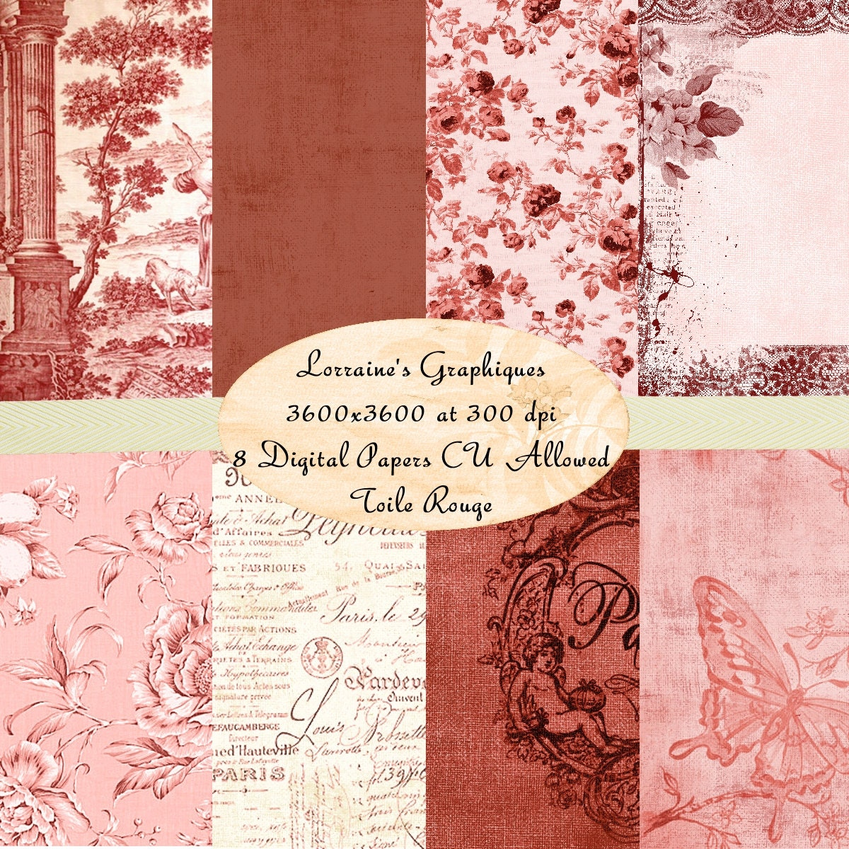 Shabby chic digital paper kit toile red printable for Toile shabby chic