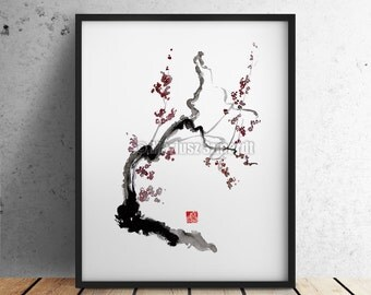 CHERRY Blossom Sakura Pink Cream Flowers Bloom GICLEE fine art print of watercolor and ink PAINTING