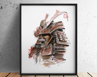 Samurai Armour, Japanese Warrior Mask, Drawing, Japan Style Illustration, Kabuto Ink, Watercolor Painting, Wall Decor