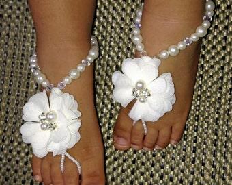 Baby Barefoot Sandals, Flower Girl Barefoot Sandals, Christening Sandals, Baby Shower Gift, Kids Barefoot Sandals, Baptism Sandals