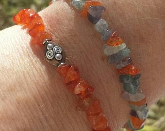 Amber, Quartz and Sterling Bracelet Set