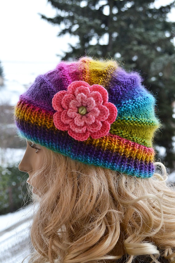 Knitting Pattern For Beanie With Flower : Knitted flower cap / hat lovely warm autumn accessories women