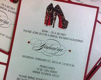 Shoe Invitation Leopard Shoe Invitation Birthday Invitation Sweet 16 Invitation Shoe Invitation Bridal Shower Invitation Louboutin Shoe