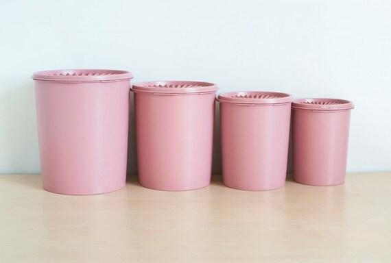 Vintage Rose Pink Tupperware Nesting Kitchen Canister Set