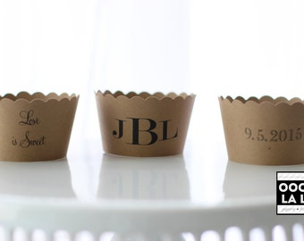MADE TO ORDER Personalized/Custom Kraft Paper Cupcake Wrappers/Holders- Set of 12 with straight or scallop edge