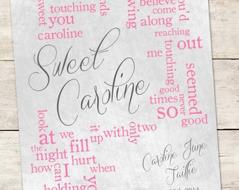 Custom Song Lyric Art - Sweet Caroline - Baby Room Art - Anniversary Gift