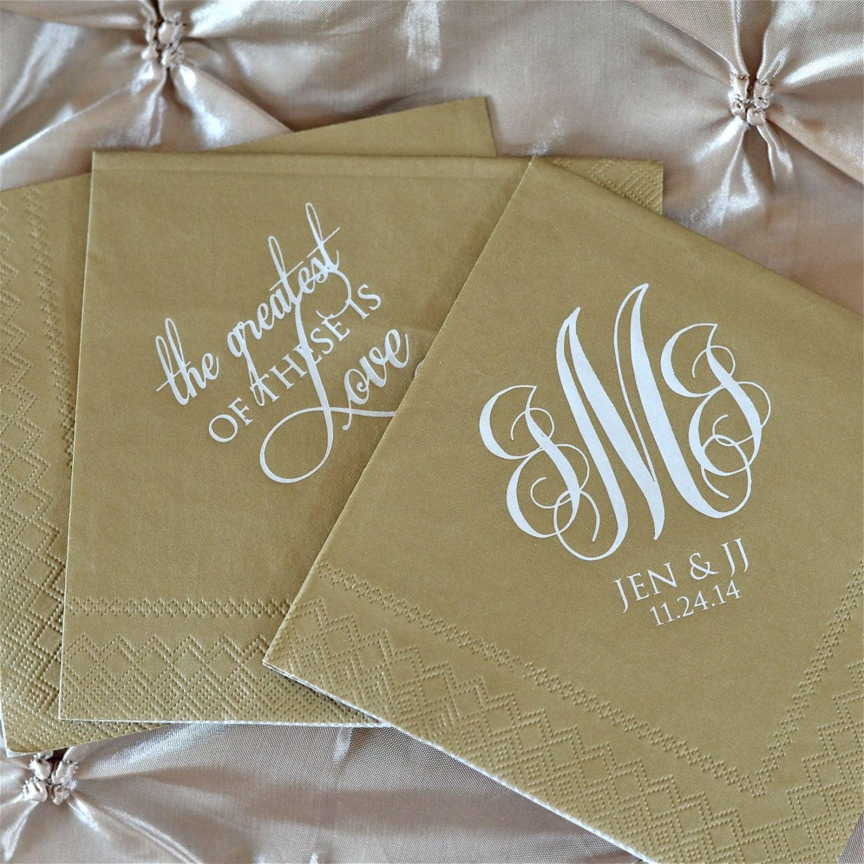 custom printed wedding napkins personalized beverage napkins On printed wedding napkins
