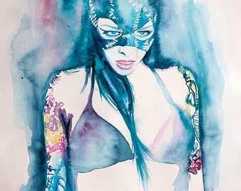 Original Watercolor Painting. Catwoman. Lady with a mask. Girl Portrait. Catwoman wall art. Art