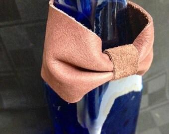 Leather Wristcuff Light Burgundy Leather Bow Cuff Style Bracelet Snap Closure Soft Simple Wrist Cuff