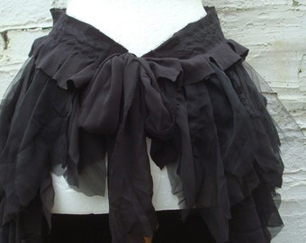 Black bustle Tattered bustle Black overskirt Woman's Clothing Dark  Mori Girl Gothic Lace Tribal Cotton Lace Layers Ruffles Gothic