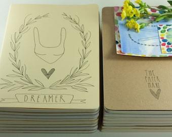 Moleskine Notebook / Journal. Cahier. Hand Illustrated. Dreamer illustration. Christmas gift. Yellow.